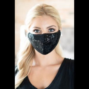 Black Double Layer Sequin Face Mask